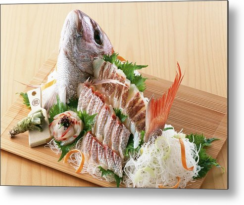 Cooking Utensil Metal Print featuring the photograph Arranged sea bream sashimi by Imagenavi