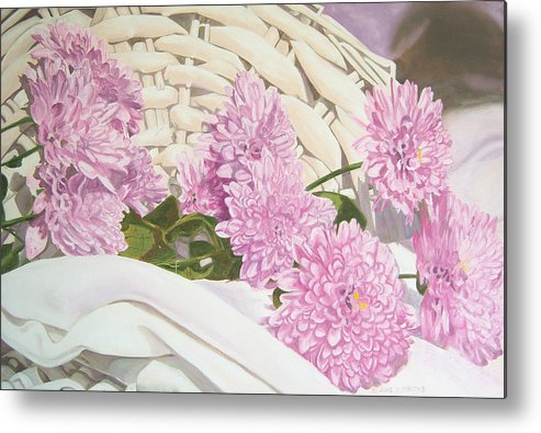 Fine Art Print Metal Print featuring the painting Floral Art Print For Sale Still Life Oil Painting by Diane Jorstad