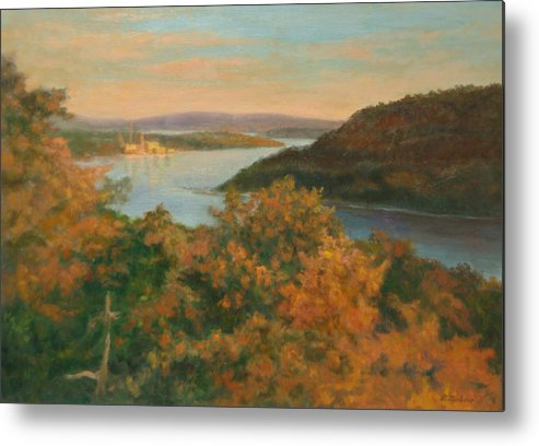 Landscape Metal Print featuring the painting Autumn Hudson Highlands by Phyllis Tarlow