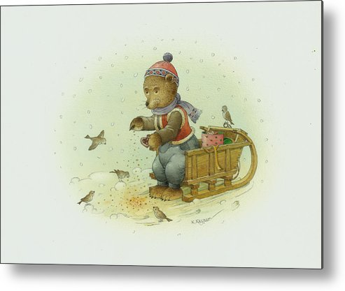 Christmas Bear Birds Winter White Holiday Metal Print featuring the painting Bear and Birds by Kestutis Kasparavicius