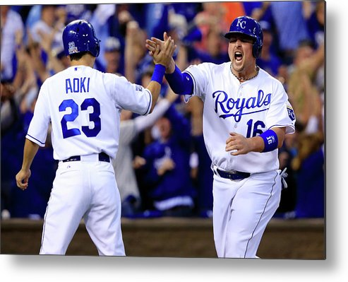 American League Baseball Metal Print featuring the photograph Billy Butler and Alcides Escobar by Jamie Squire