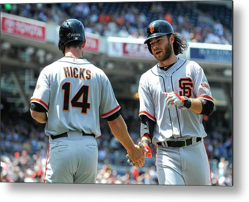 Second Inning Metal Print featuring the photograph Brandon Hicks and Brandon Crawford by Denis Poroy