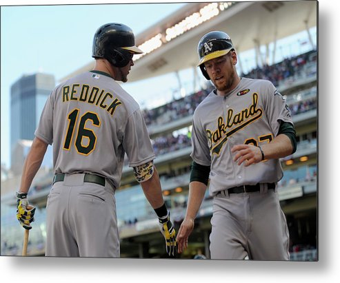 Second Inning Metal Print featuring the photograph Brandon Moss and Josh Reddick by Hannah Foslien
