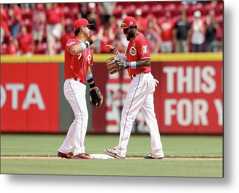 Great American Ball Park Metal Print featuring the photograph Brandon Phillips and Eugenio Suarez by Andy Lyons