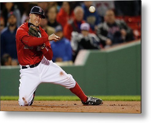 American League Baseball Metal Print featuring the photograph Brock Holt and Adam Jones by Jim Rogash