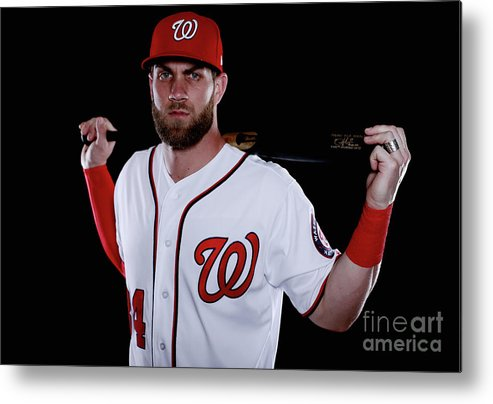 Media Day Metal Print featuring the photograph Bryce Harper by Chris Trotman