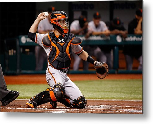 Baseball Catcher Metal Print featuring the photograph Buster Posey by J. Meric