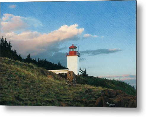 Lighthouse Metal Print featuring the drawing Cape D'Or by Brent Ander