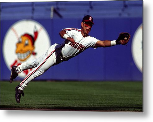 American League Baseball Metal Print featuring the photograph Carlos Baerga by Ronald C. Modra/sports Imagery