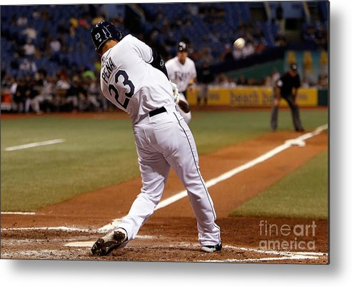 American League Baseball Metal Print featuring the photograph Carlos Pena by J. Meric