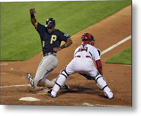 People Metal Print featuring the photograph Carlos Ruiz and Gregory Polanco by Drew Hallowell