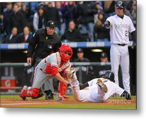 Playoffs Metal Print featuring the photograph Carlos Ruiz and Todd Helton by Doug Pensinger
