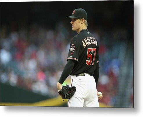 Baseball Pitcher Metal Print featuring the photograph Chase Anderson by Christian Petersen