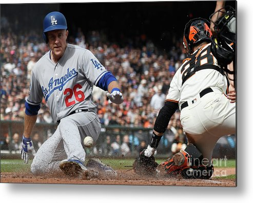 San Francisco Metal Print featuring the photograph Chase Utley and Buster Posey by Thearon W. Henderson