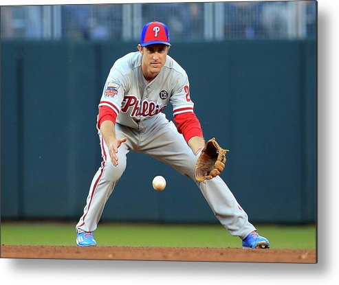 American League Baseball Metal Print featuring the photograph Chase Utley by Rob Carr