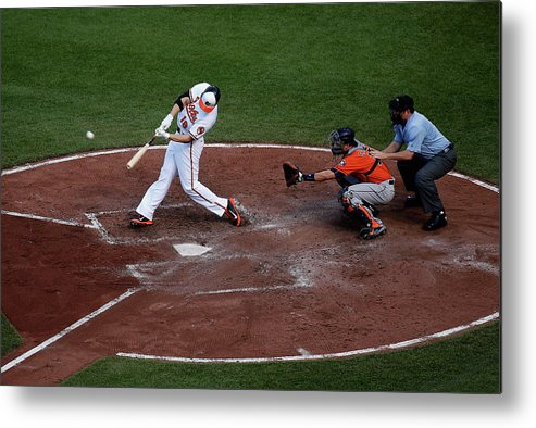 Baseball Catcher Metal Print featuring the photograph Chris Davis and Jason Castro by Rob Carr