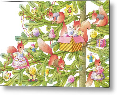 Christmas Christmastree Christmastreetoys Squirrels Christmascard Winter Metal Print featuring the drawing Christmas tree and squirrels by Kestutis Kasparavicius