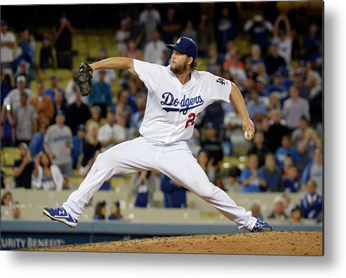 Clayton Kershaw Metal Print featuring the photograph Clayton Kershaw by Kevork Djansezian