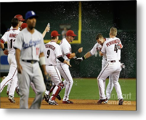 American League Baseball Metal Print featuring the photograph Cliff Pennington, Ender Inciarte, and David Peralta by Christian Petersen