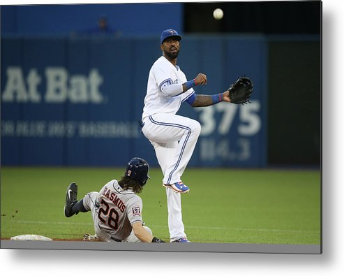 Double Play Metal Print featuring the photograph Colby Rasmus and Jose Reyes by Tom Szczerbowski