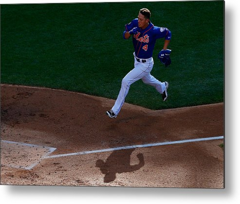 Game Two Metal Print featuring the photograph Daisuke Matsuzaka and Wilmer Flores by Mike Stobe