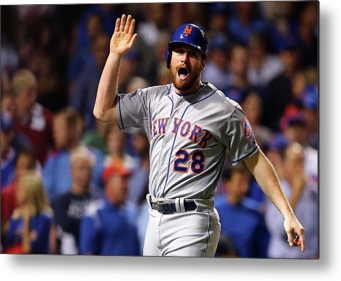 Second Inning Metal Print featuring the photograph Daniel Murphy, Lucas Duda, and Travis Wood by Elsa
