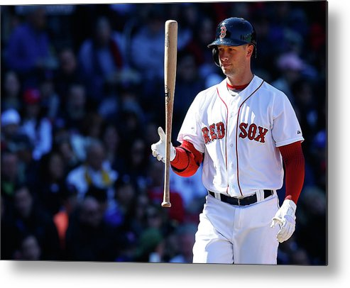 American League Baseball Metal Print featuring the photograph Daniel Nava by Jared Wickerham