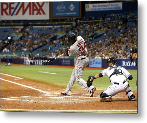 Baseball Catcher Metal Print featuring the photograph David Ortiz by Brian Blanco