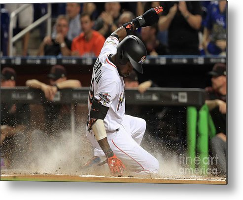 People Metal Print featuring the photograph Dee Gordon and Giancarlo Stanton by Mike Ehrmann