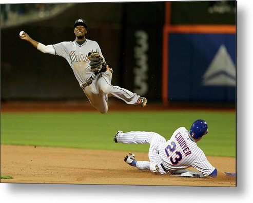 Double Play Metal Print featuring the photograph Dee Gordon and Michael Cuddyer by Elsa