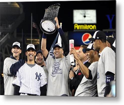 American League Baseball Metal Print featuring the photograph Derek Jeter, Mariano Rivera, and Jorge Posada by Jed Jacobsohn
