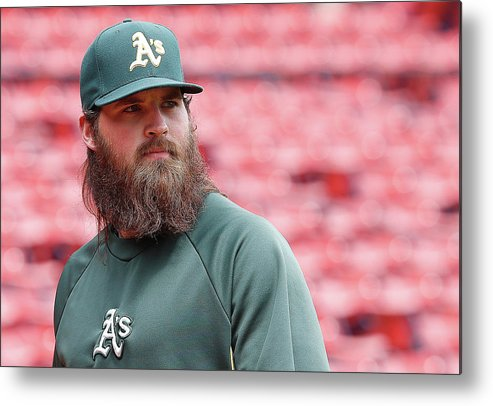 American League Baseball Metal Print featuring the photograph Derek Parks by Jim Rogash