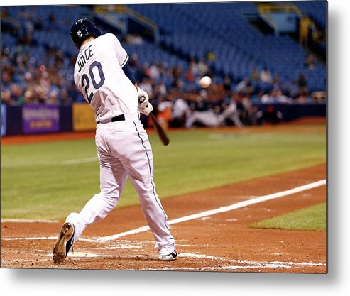 American League Baseball Metal Print featuring the photograph Desmond Jennings and Ben Zobrist by Brian Blanco