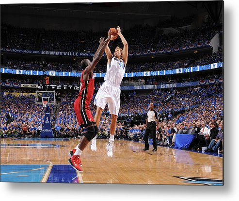 Playoffs Metal Print featuring the photograph Dirk Nowitzki and Joel Anthony by Andrew D. Bernstein