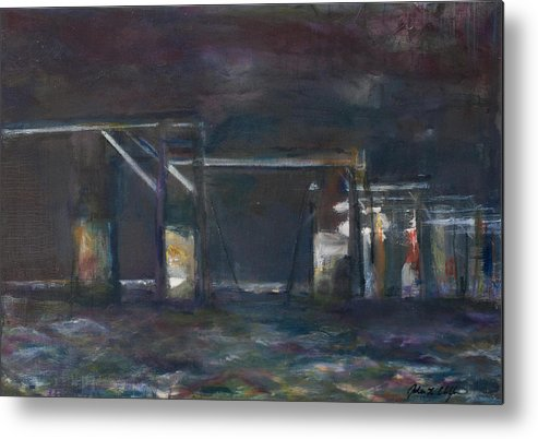 Bridge Metal Print featuring the painting Disconnected, Old Beesleys Point bridge by Jodee Clifford