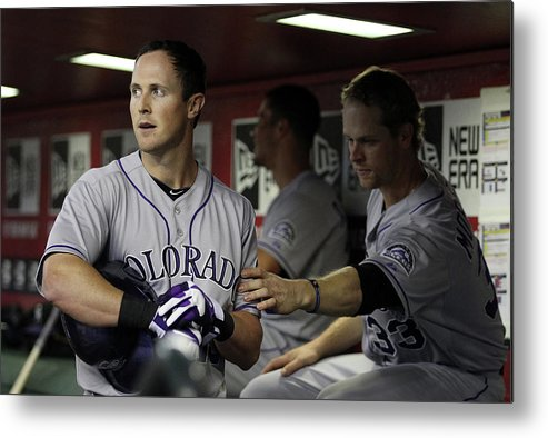 Ninth Inning Metal Print featuring the photograph Drew Stubbs and Justin Morneau by Christian Petersen