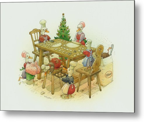 Christmas Duck Winter White Kitchen Holiday Metal Print featuring the painting Ducks Christmas by Kestutis Kasparavicius