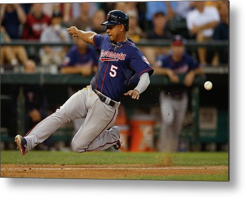 American League Baseball Metal Print featuring the photograph Dustin Ackley, Eduardo Escobar, and Brian Dozier by Otto Greule Jr