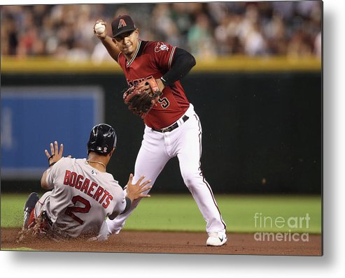 People Metal Print featuring the photograph Eduardo Escobar and Xander Bogaerts by Christian Petersen