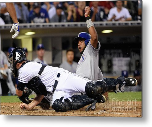 People Metal Print featuring the photograph Elvis Andrus And Austin Hedges by Denis Poroy