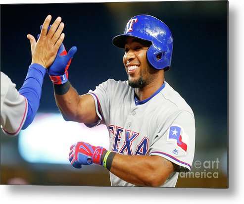 Ninth Inning Metal Print featuring the photograph Elvis Andrus by Jim Mcisaac