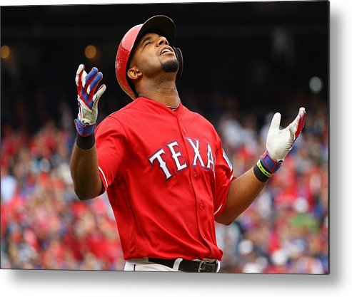 Game Two Metal Print featuring the photograph Elvis Andrus by Scott Halleran