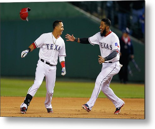Ninth Inning Metal Print featuring the photograph Elvis Andrus by Tom Pennington