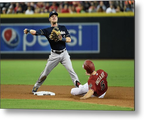 Double Play Metal Print featuring the photograph Ender Inciarte by Norm Hall