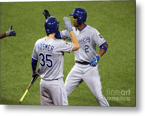 Three Quarter Length Metal Print featuring the photograph Eric Hosmer and Alcides Escobar by Vaughn Ridley