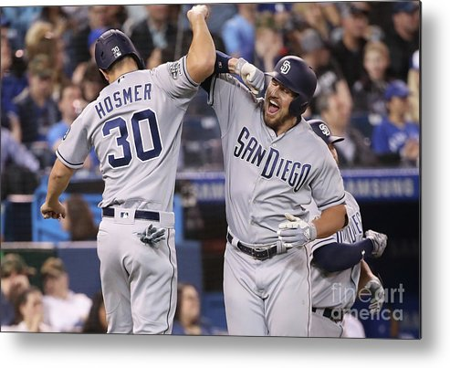 People Metal Print featuring the photograph Eric Hosmer and Hunter Renfroe by Tom Szczerbowski
