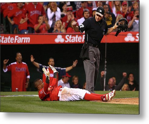 People Metal Print featuring the photograph Erick Aybar and Tyson Ross by Victor Decolongon