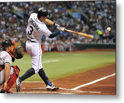 Second Inning Metal Print featuring the photograph Evan Longoria by Al Messerschmidt