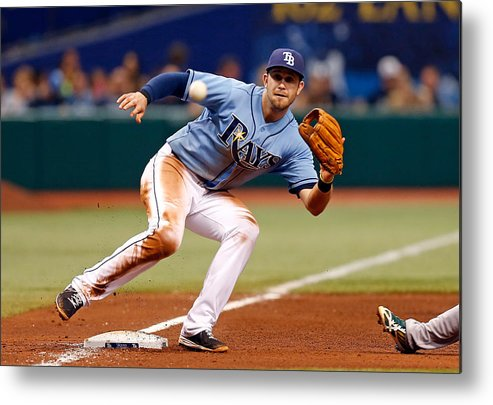 American League Baseball Metal Print featuring the photograph Evan Longoria and Coco Crisp by J. Meric