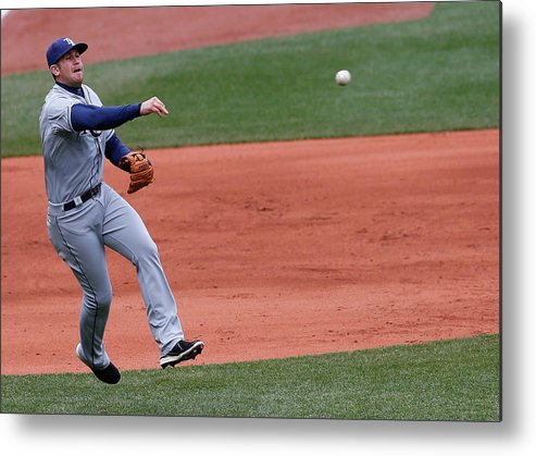American League Baseball Metal Print featuring the photograph Evan Longoria and Dustin Pedroia by Jim Rogash